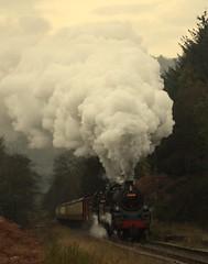 Passing the Grange (feroequineologist) Tags: 76038 76079 76084 northyorkshiremoorsrailway levisham levishamstation nymr steam railway train