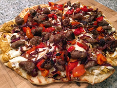 State Fair (Darren Shannon) Tags: darrenshannon iphone6s cameraphone longbeachcalifornia longbeach california pizza statefair guldensbrownmustard sausage caramelizedonions roastedredpeppers dinner eating cooking dining imadethis iatethis bottomsuprichmondvirginia oct162016