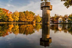 Montanesium park 07 (Milen Mladenov) Tags: 2016 bulgaria d3200 landscape montana montanesium nikon autumn citiscape green leaves orange outdoor park reservoir tower trees view water yellow
