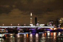 The Shard (Katrinitsa) Tags: london2016 london uk england greatbritain british canon canoneosrebelt3i unitedkingdom bridge thames river riverside cityscape city citylights lights colors night nightlights nightview cityview citycenter eye europe shard theshard skyscraper sky clouds travelphotography travel boats construction buildings skyscrapers reflections shadows ef35mmf14lusm landscape architecture blackfriars high tall view riverboats outdoors
