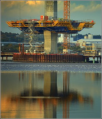Mersey Gateway Project Reflections(Central Pylon) 21st October 2016 (Cassini2008) Tags: merseygatewayproject rivermersey rubricaengineering rubricaformtravellers cablestayedbridge bridgeconstruction cofferdam