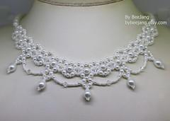 Pearly Necklace (BeeJang - Piratchada) Tags: beadweaving beading beadwork pearl bridal jewelry handmade white crystal swarovski miyuki necklace