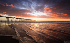 Hermosa Pier, CA (Graham Gilmore | PHOTOGRAPHY) Tags: hermosa beach pier california los angeles sunset waves ocean clouds sky red blue yellow motion ca