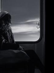 Daydreaming (Ivan Rigamonti) Tags: tram sitting switzerland bürkliplatz flickr clouds publictransport girl tree horizon backlight sunshine 500px bw zurich bellevue europe sky hair blackandwhite bnw monochrome zürich schweiz ch ivanrigamonti