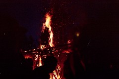 Flamming (Stephanie Overton) Tags: bulgaria festival meadows mountains 2016 mountain tree green outside adventure view beautiful scenery hippy mumma wilderness party music 35mm pentax p30 offering flame burn wood art