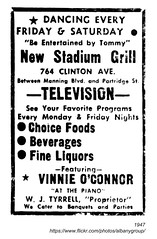 1947 new stadium grill (albany group archive) Tags: albany ny 1947 new stadium grill television vinnie oconnor tyrrell