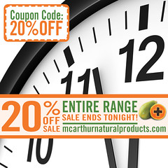 Last Chance - 20% OFF Sale on Entire Range ends Midnight Tonight - Don't be Disappointed! (mcarthurnaturalproducts) Tags: mnp mcarthurnaturalproducts onsale salenowon mcarthursale sale bargains pawpaw papaya papain papaw caricapapaya natural naturalskincare skincare allnaturalbeauty arthritis eczema psoriasis