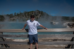 Me - Grand Prismatic Spring - Midway Geyser Basin - Yellowstone National Park - Wyoming - 22 June 2016 (goatlockerguns) Tags: yellowstone national wyoming park nationalpark usa unitedstatesofamerica nature natural west western teton forest woods trees mountains pool midway geyser basin springs prismatic grand waterfall virginia cascades firehole falls