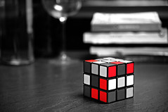 untitled (brescia, italy) (bloodybee) Tags: 365project rubikscube cube mathematics maths geometry science stilllife bw red selectivecolor