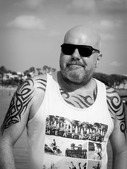 Shades and Tattoos. (CWhatPhotos) Tags: cwhatphotos camera photographs photograph pics pictures pic picture image images foto fotos photography artistic that have which contain with olympus four thirds 43 spanish spain mallorca majorca island october 2016 weather selfee selfie portrait mono face body upper tattoo tattooed tatts tribal inked sea water coast beach pose balearic islands mediterranean balearics