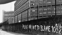 Kelvin Flats, Sheffield,1989 (brightondj - getting the most from a cheap compact) Tags: pentaxmesuper sheffield kelvinflats estate shalesmoor housing flats councilestate bw shadows kelvin kelvinestate hillsborough hillsboroughdisaster police southyorkshirepolice