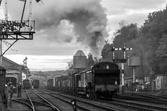 1501 with goods B&W. (Bob Green 52) Tags: svr severnvalleyrailway bewdley worcestershire 1501 goods steam loco engine railway rails smoke coaches gala