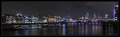 Blackfriars Bridge and St. Pauls from the South Bank (jdl1963) Tags: blackfriars bridge st pauls from south bank london night long exposure light trails river thames saint cathedral reflection water panorama