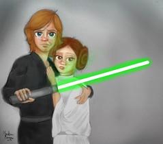 Luke Skywalker and Princess Leia - Illustration (Monalisa Borges) Tags: luke skywalker princess leia illustration drawing character animation star wars