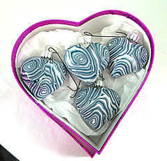 blue silver hearts ornaments 2016 (playsculptlive) Tags: pcagoe polymerclay xmasornament