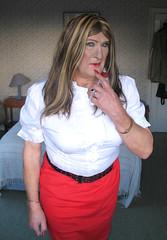 Janeredsktclo-002 (fionaxxcd) Tags: crossdresser crossdressing transvestite tranny trannie m2f mtf bust boobs rednails redlips mascara leatherbelt earrings