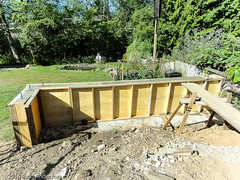 What to do while the concrete sets (Canadian Dragon) Tags: canada june wall concrete construction backyard bc nanaimo driveway forms renovations catwalk plywood renos retainingwall 2015 constructionproject dschx5c