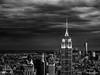 Empire state building from the top of the Rock (jonathan.nouvellon) Tags: longexposure blackandwhite newyork building skyscraper manhattan olympus empirestatebuilding gotham zuiko topoftherock omd newyorkatnight 1240 em5 topoftherockatnight em5markii