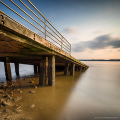 Hardened (Wolfics) Tags: park bridge cloud color beach water speed sunrise square singapore long exposure slow jetty sony smooth down shutter a7 uwa sembawang