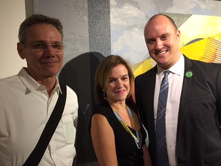 David Russell, owner of Arango Design, with Maggie Cuesta, New World School of the Arts (NWSA) Dan of Visual Arts , Dean and Jeremy Mikolajczak, MDC Museum of Art + Design (MOAD) Director at Director's Preview Night at the Freedom Tower