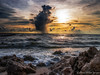 Caspersen Shower (DonMiller_ToGo) Tags: sunset gulfofmexico nature clouds landscape rocks waves seascapes florida sunsets beachlife g5 beaches hdr goldenhour 5xp hdrphotography 5exposures beachphotography myflorida sunsetmadness sunsetsniper caspersensbeach
