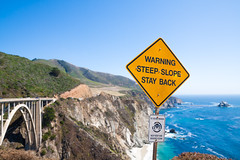 Steep Slope Ahead, Finals are Here - Thanks for 100,000 Views! (twinsfan7777) Tags: ocean california thanksgiving college beautiful sign thanks architecture warning university pacific hill scenic tourist cliffs highway1 pacificocean finals week coastline stress exam touristattraction attraction omen bixbybridge crashingwaves pacificcoasthighway