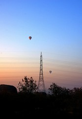 Morning glory ($udhakar) Tags: morning morninglight iso200 pentax balloon wideangle hues hyderabad morningglory hotairballoons f8 45mm skyfest transmissionlines gachibowli 1320s wwwsudhakarcom smcpda1645mmf40edal pentaxk5 overisb skyfest2015