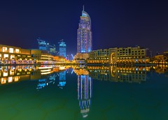 The Address Hotel, Downtown Dubai, Burj Khalifa lake, United Arab Emirates (Orbis-Pictus) Tags: longexposure dubai uae nightscene unitedarabemirates address d810 nikond810 nikkor1424 nikon1424mm dubaiatnight theaddresshotel burjkhalifalake dubaidowntown addresshotelindubai