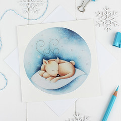 Silent Night Christmas Card (jac.cheekymonkeystudio) Tags: christmas christmascard xmascard holidaycard whimsical cute kidschristmas cutechristmas whimsicalchristmas animals whimiscalanimals reindeer stationary stationery