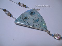Blue Moon (LynzCraftz) Tags: polymerclay resin pendant jewelry necklace oneofakind handmade
