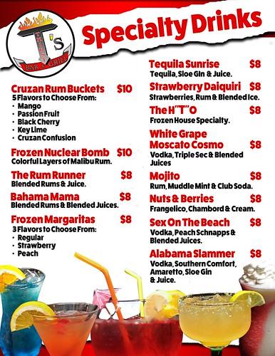 Thirst T's menu 4