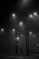 People, night and fog (Kimmo Risnen) Tags: canoneos10d night fog streetlight blackandwhite monochrome helsinki finland