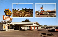 Royal Host Motel Las Cruces NM (Edge and corner wear) Tags: vintage chrome postcard pc motel motor hotel inn lodge nm new mexico neon sign aaa mini miniature golf course inset roadside commercial archaeology restaurant pancakes chicken