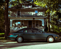 The Weather Has Turned Cold (B.jamison Photo) Tags: window reflection car vintage emo indie soft green tree road house home cold fall city chill black porch canon t3i wisconsin