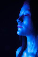 Take a breath (danieltriana) Tags: floating water blue red flotando azul rojo makeup beauty