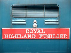 55019 nameplate and crest, EOR Epping Ongar Railway Diesel Gala 17.09.16 (Trevor Bruford) Tags: eor epping ongar heritage railway north weald br blue train diesel locomotive gala deltic d9019 9019 55019 royal highland fusilier napier ee english electric dps preservation society