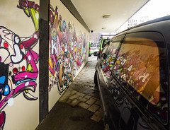 Ikarus (Steve Taylor (Photography)) Tags: ikarus van art mural streetart graffiti colourful vivid fun glass newzealand nz southisland canterbury christchurch cbd city reflection auto automobile vehicle window