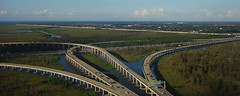 over and under, this way and that (lucymagoo_images) Tags: louisiana aerial atchafalaya basin swamp highway interstate10 wide panorama landscape cars traffic exits trees green kenner sony rx100
