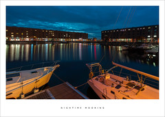 Nighttime mooring. (Parallax Corporation) Tags: albertdock maritimemuseum boats nightime nightsky wideangle liverpool bluelight longexposure