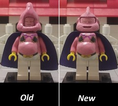 old vs new majin buu (teamfourstud) Tags: buu fat good majin figures minifigures dragonballgt dbgt gt ball dragon z dragonball dbz custom decals lego mini figure minifigure db kid super fusion buuhan buutenks 3d printed shapeways print
