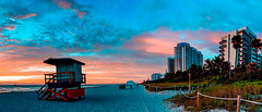 When dawn breaks on the beach. (The Sergeant AGS (A city guy)) Tags: miamibeach sobe sony sonylens walking walkways seashore skies blue beach urbanexploration neighborhood earlyinthemorning exploration early colors beachscape