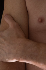 12R, arm, hand. chest and nipple (molybdena) Tags: chest externalflash nipple wrist hand torso self gay