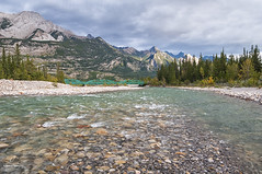 Snaring River (Quincey Deters) Tags: 2016 alberta allrightsreserved autumn canada canadianrockymountains evening fall horizontal jasper jaspernationalpark landscape mountain nature northamerica outdoor river rock september shore snaringriver summer tree ©quinceydeters