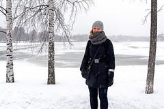 Leena (Poupetta) Tags: stranger leena tölöviken snow cold trees birch