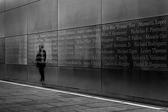 9/11 Memorial (Eduard Moldoveanu Photography) Tags: 11 9 911 city liberty libertystatepark nyc park stainlessteel wtc attacks bw blackwhite blackandwhite center dedicated editorial empty fineart grey jersey memorial monument names new nj reflections remembrance september sky state symbol symbolic terror trade victims visitor world york