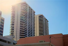Trump Plaza (LarryJay99 ) Tags: windows flair layers towers buildings balconies city florida bluesky trump urban westpalmbeach condos sky 61305mm two stacks him its 5 oclock