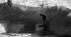 Shadowed (OzzRod) Tags: pentax k1 sigmadg120400mmf4556 monochrome blackandwhite ocean sea surfing surfer silhouette merewether