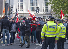 Protest (Stephen Whittaker) Tags: street city against liverpool hotel mask mayor candid centre united protest police lord flags adelphi network fascism anti fascist protesters protestors 999 merseyside uaf afn ranlegh