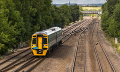 Arriva Trains class 158 Fart Car no 158824 at Tupton on 27-08-2015 with a move from Doncaster after attention (kevaruka) Tags: road railroad bridge summer england sun color colour colors sunshine composition train canon eos is flickr day colours outdoor derbyshire transport rail railway sunny august trains front class page vehicle mk2 5d british locomotive network 20 70200 f28 ef chesterfield services direct choppers 20305 mk3 2015 drs 100400l tupton 20308 5d3 5diii thephotographyblog