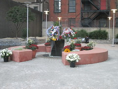 Firefighters Memorial Park at Ritz Plaza 9/11/2015 NYC 1194 (Brechtbug) Tags: world park street plaza new york 2001 city nyc reflection tower art monument public fountain st fire freedom memorial near manhattan small 911 ground center 11 september midtown ave ritz service wtc lower fountains avenue trade zero fdny department firefighters 8th dept 48th 2015 09112015